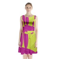 Yellow and pink landscape Sleeveless Chiffon Waist Tie Dress