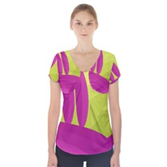 Yellow And Pink Landscape Short Sleeve Front Detail Top
