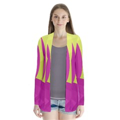 Yellow and pink landscape Drape Collar Cardigan