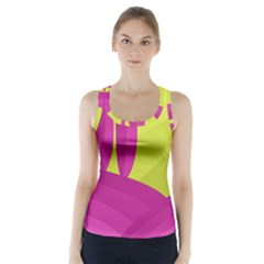 Yellow And Pink Landscape Racer Back Sports Top