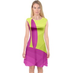 Yellow and pink landscape Capsleeve Midi Dress