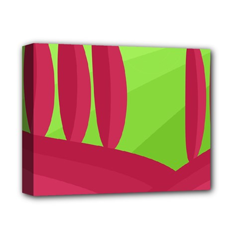 Green and red landscape Deluxe Canvas 14  x 11