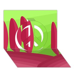 Green and red landscape Peace Sign 3D Greeting Card (7x5)