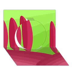 Green and red landscape Circle 3D Greeting Card (7x5)