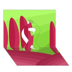 Green and red landscape Ribbon 3D Greeting Card (7x5)
