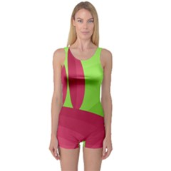 Green and red landscape One Piece Boyleg Swimsuit