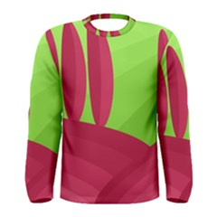 Green and red landscape Men s Long Sleeve Tee