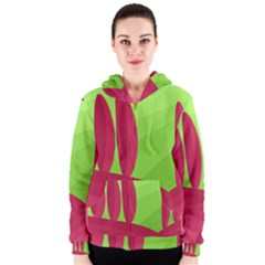 Green and red landscape Women s Zipper Hoodie