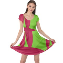 Green and red landscape Cap Sleeve Dresses