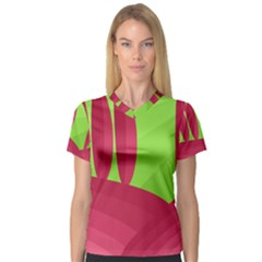 Green and red landscape Women s V-Neck Sport Mesh Tee