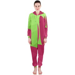 Green and red landscape Hooded Jumpsuit (Ladies)