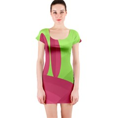 Green and red landscape Short Sleeve Bodycon Dress