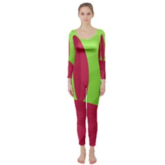 Green and red landscape Long Sleeve Catsuit