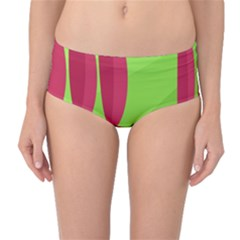 Green and red landscape Mid-Waist Bikini Bottoms