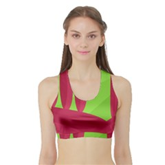Green and red landscape Sports Bra with Border