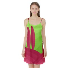 Green and red landscape Satin Night Slip