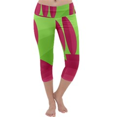 Green and red landscape Capri Yoga Leggings