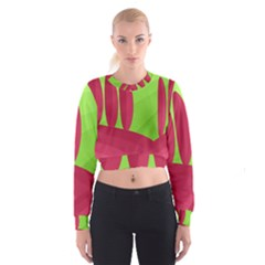 Green and red landscape Women s Cropped Sweatshirt
