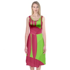 Green and red landscape Midi Sleeveless Dress