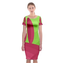 Green and red landscape Classic Short Sleeve Midi Dress
