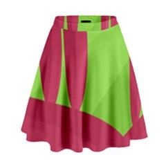 Green and red landscape High Waist Skirt