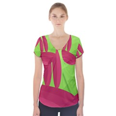 Green and red landscape Short Sleeve Front Detail Top