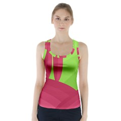 Green and red landscape Racer Back Sports Top