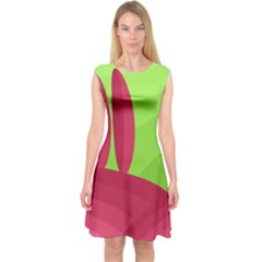 Green and red landscape Capsleeve Midi Dress