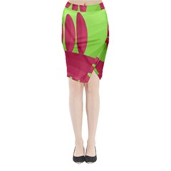 Green and red landscape Midi Wrap Pencil Skirt