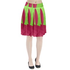 Green and red landscape Pleated Skirt