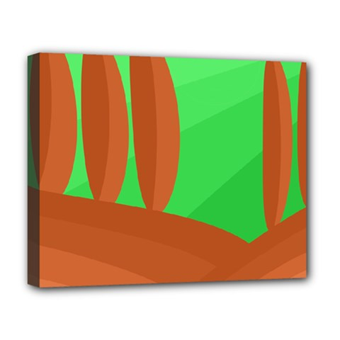 Green and orange landscape Deluxe Canvas 20  x 16