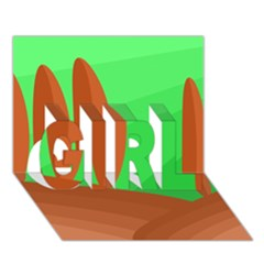 Green and orange landscape GIRL 3D Greeting Card (7x5)