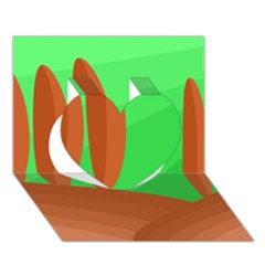 Green and orange landscape Heart 3D Greeting Card (7x5)