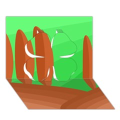 Green and orange landscape Clover 3D Greeting Card (7x5)