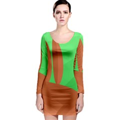 Green and orange landscape Long Sleeve Bodycon Dress