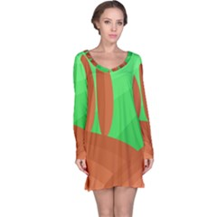 Green and orange landscape Long Sleeve Nightdress