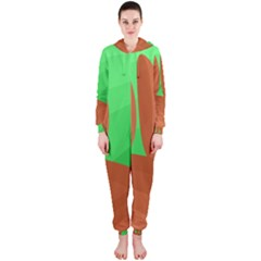 Green and orange landscape Hooded Jumpsuit (Ladies)