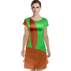 Green and orange landscape Cap Sleeve Nightdress
