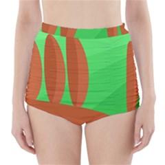 Green And Orange Landscape High Waisted Bikini Bottoms
