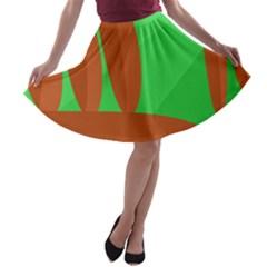 Green and orange landscape A-line Skater Skirt