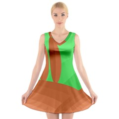 Green and orange landscape V-Neck Sleeveless Skater Dress