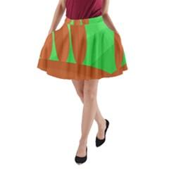 Green and orange landscape A-Line Pocket Skirt