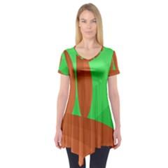 Green And Orange Landscape Short Sleeve Tunic