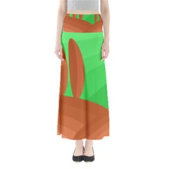 Green and orange landscape Maxi Skirts