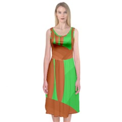 Green and orange landscape Midi Sleeveless Dress