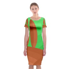 Green and orange landscape Classic Short Sleeve Midi Dress
