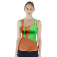 Green And Orange Landscape Racer Back Sports Top