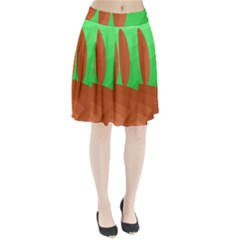 Green and orange landscape Pleated Skirt
