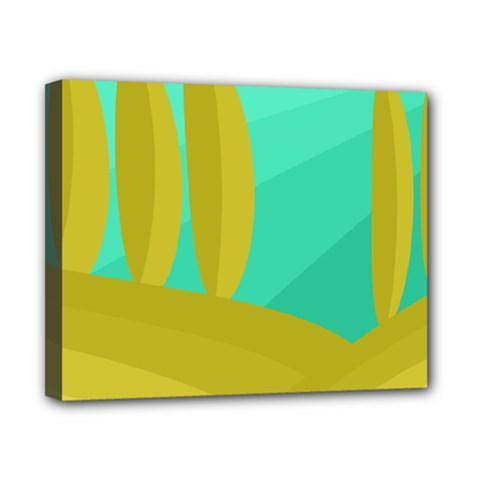 Green and yellow landscape Canvas 10  x 8