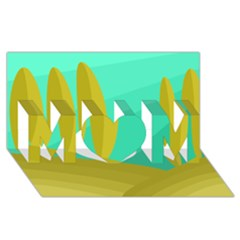 Green and yellow landscape MOM 3D Greeting Card (8x4)